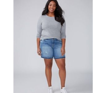 5541a08e43737 Lane Bryant Shorts - Lane Bryant Release Hem Girlfriend Denim Shorts